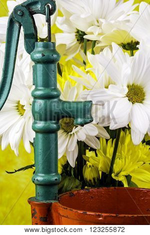 green hand water pump next to bouquet of spring flowers and red bucket