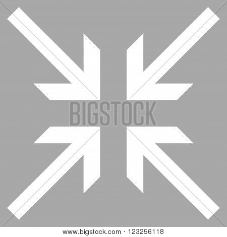 Collide Arrows vector icon. Image style is flat collide arrows pictogram symbol drawn with white color on a silver background.