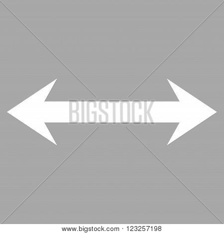 Horizontal Flip vector icon. Image style is flat horizontal flip pictogram symbol drawn with white color on a silver background.
