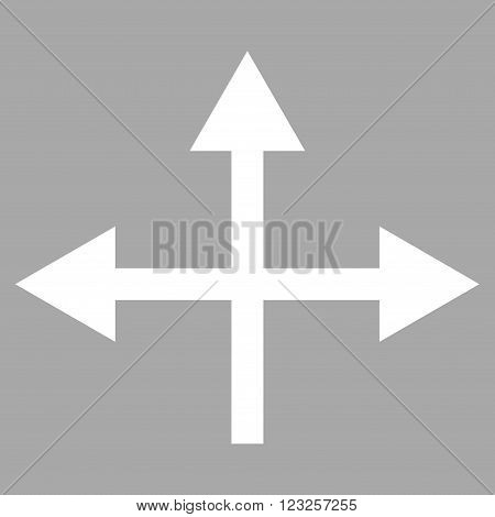 Intersection Directions vector icon. Image style is flat intersection directions pictogram symbol drawn with white color on a silver background.