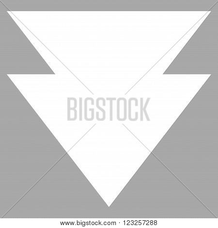 Move Down vector icon. Image style is flat move down pictogram symbol drawn with white color on a silver background.
