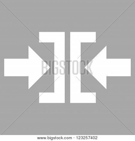 Press Horizontal Direction vector icon. Image style is flat press horizontal direction pictogram symbol drawn with white color on a silver background.