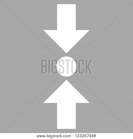 Pressure Vertical vector icon. Image style is flat pressure vertical pictogram symbol drawn with white color on a silver background.