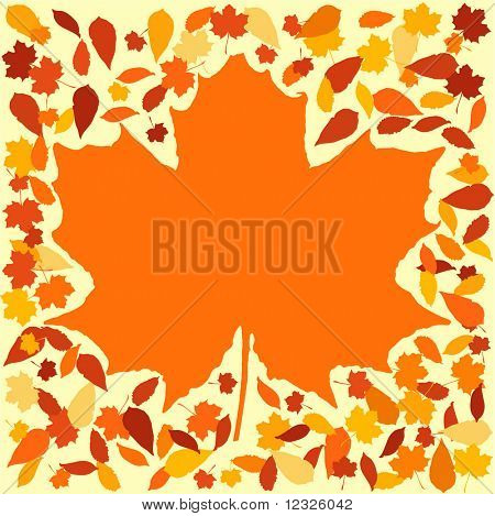 autumn frame with colourful leaves surrounding large leaf illustration