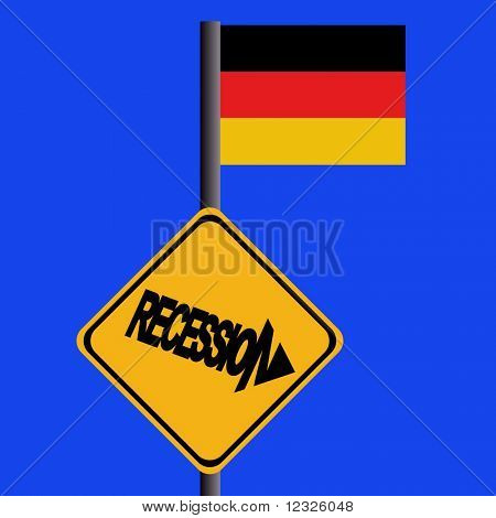 Recession warning sign and German flag illustration