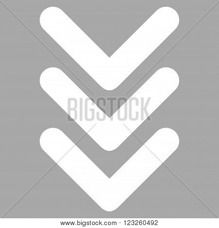 Triple Arrowhead Down vector icon. Image style is flat triple arrowhead down pictogram symbol drawn with white color on a silver background.