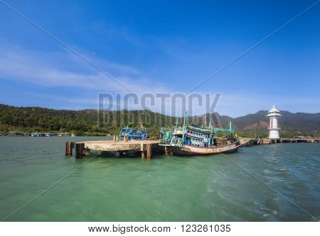 THAILAND, KO CHANG- DEC 18 : The lighthouse in the village of Bang Bao on December 18, 2011 in Ko Chang, Thailand.