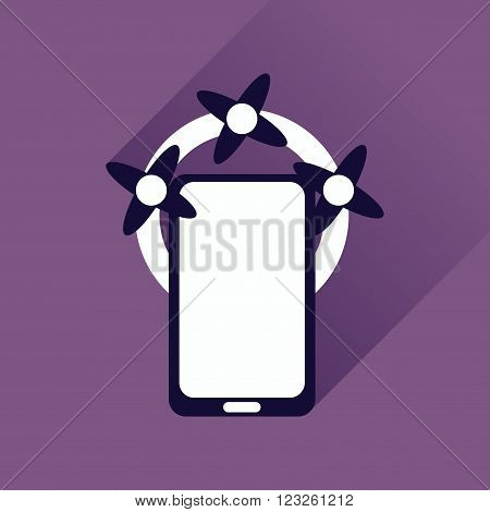 Flat web icon with long shadow mobile phone