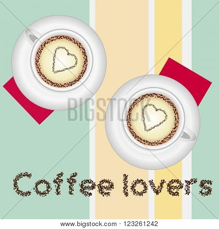 Cofee lovers card with two lovely cups of cofee on colored background and text