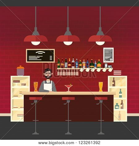 Cafe Interior. Different Beverages. Barman. Bar Table. European Cafe. Bistro Restaurant Coffee House. Vector illustration. Flat Style