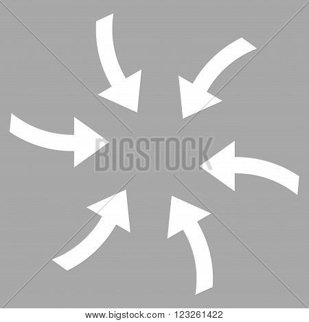 Twirl Arrows vector icon. Image style is flat twirl arrows pictogram symbol drawn with white color on a silver background.