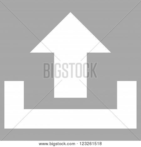Upload vector icon. Image style is flat upload pictogram symbol drawn with white color on a silver background.