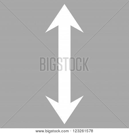 Vertical Flip vector icon. Image style is flat vertical flip pictogram symbol drawn with white color on a silver background.