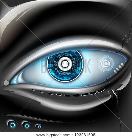 Eye of metal robot. Futuristic interface. Stock vector illustration.
