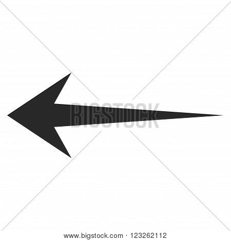 Arrow Left vector icon. Arrow Left icon symbol. Arrow Left icon image. Arrow Left icon picture. Arrow Left pictogram. Flat gray arrow left icon. Isolated arrow left icon graphic.