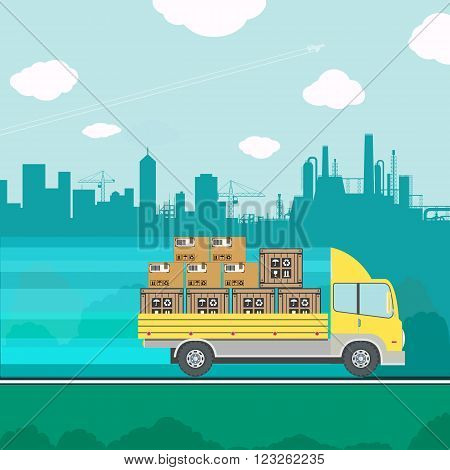 Truck transporting containers and boxes. cargo delivery. Stock vector illustration.