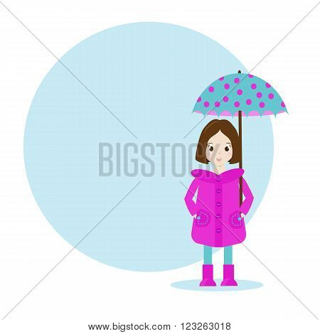 Cartoon girl character in raincoat with umbrella. Blue background with space for your text and design