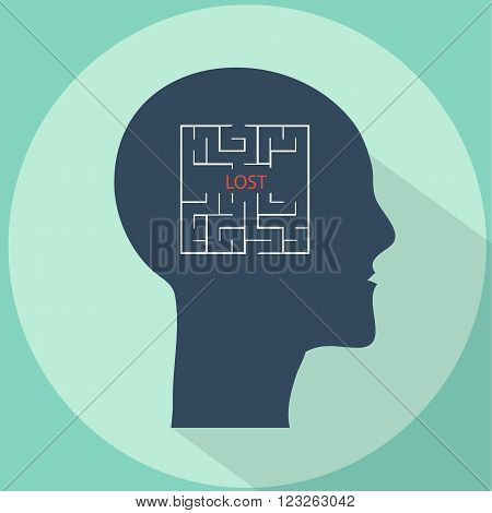 Lost in mind labyrinth flat style vector illustration