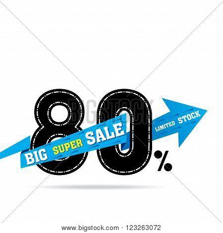 flash 80 percent super sale banner design vector