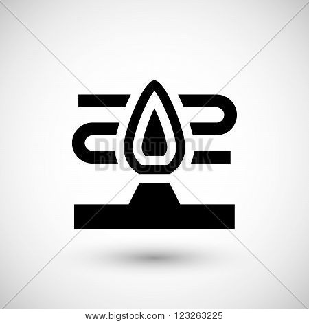 Heater flame icon isolated on grey. Vector illustration