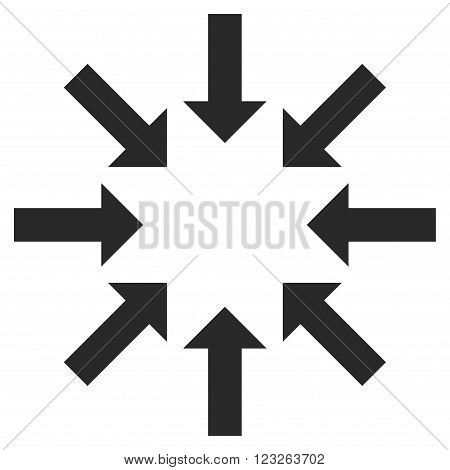 Collapse Arrows vector icon. Collapse Arrows icon symbol. Collapse Arrows icon image. Collapse Arrows icon picture. Collapse Arrows pictogram. Flat gray collapse arrows icon.