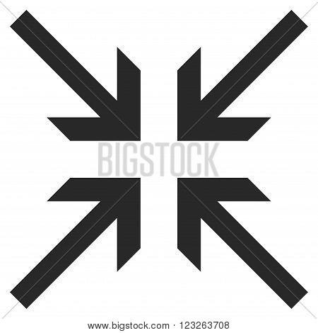 Collide Arrows vector icon. Collide Arrows icon symbol. Collide Arrows icon image. Collide Arrows icon picture. Collide Arrows pictogram. Flat gray collide arrows icon.