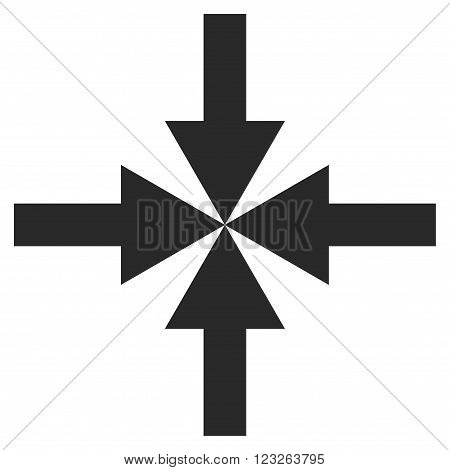 Compress Arrows vector icon. Compress Arrows icon symbol. Compress Arrows icon image. Compress Arrows icon picture. Compress Arrows pictogram. Flat gray compress arrows icon.