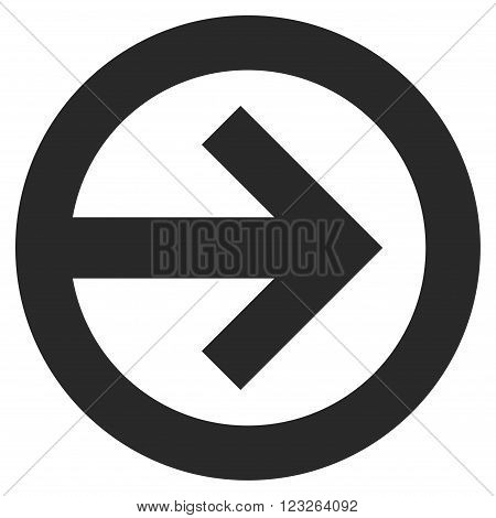 Direction Right vector icon. Direction Right icon symbol. Direction Right icon image. Direction Right icon picture. Direction Right pictogram. Flat gray direction right icon.
