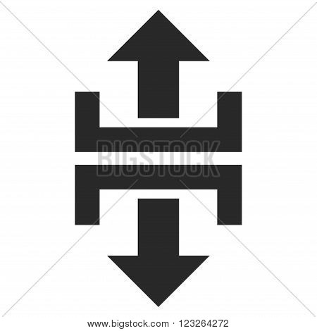 Divide Vertical Direction vector icon. Divide Vertical Direction icon symbol. Divide Vertical Direction icon image. Divide Vertical Direction icon picture. Divide Vertical Direction pictogram.