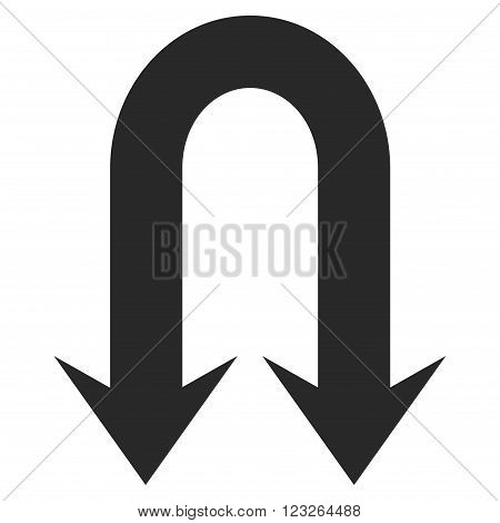 Double Back Arrow vector icon. Double Back Arrow icon symbol. Double Back Arrow icon image. Double Back Arrow icon picture. Double Back Arrow pictogram. Flat gray double back arrow icon.