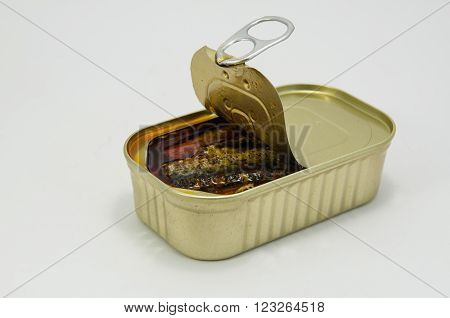 Sardines fish canned in tomato sauce. In gold cans