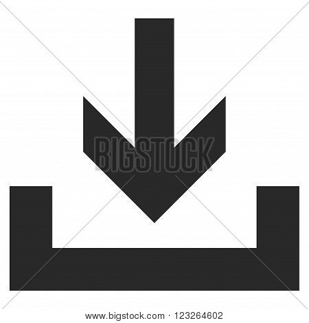 Downloads vector icon. Downloads icon symbol. Downloads icon image. Downloads icon picture. Downloads pictogram. Flat gray downloads icon. Isolated downloads icon graphic. Downloads icon illustration.