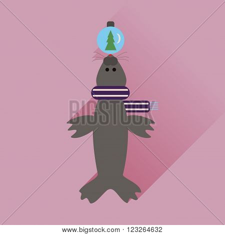 Flat web icon with long shadow fur seal