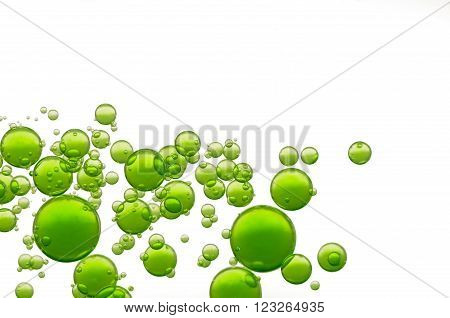 Green oil bubbles fly over a white background