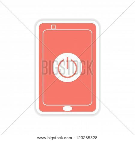 paper sticker on white  background Turn off mobile phone