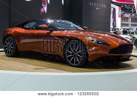 NONTABURI THAILAND - 23 MAR : Aston Martin DB11 new 600bhp twin-turbo GT showed in Thailand the 37th Bangkok International Motor Show on 23 March 2016