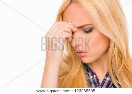 Close Up Portrait Of Sad Woman Suffering From Strong Pain