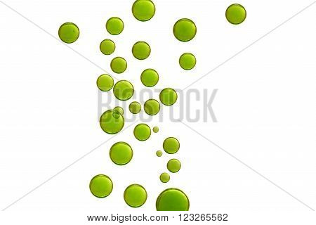 Green air bubbles blending over a white background