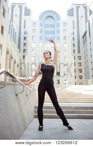Beautiful  Young Fit Slim Ballerina Posing Near The Railing