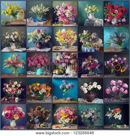 Still life with flowers on a blue and green background collage. Still life with flowers.