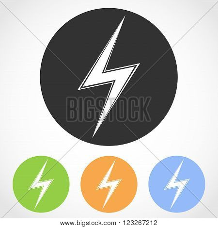 Lightning icons - vector illustration. Set of lightning flat icons in four color versions.