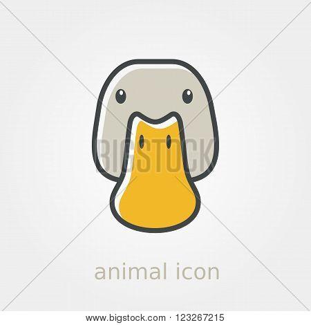 Duck icon. Farm animal vector illustration eps 10