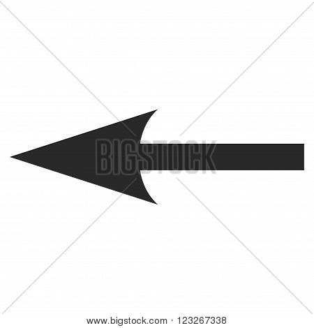 Sharp Arrow Left vector icon. Sharp Arrow Left icon symbol. Sharp Arrow Left icon image. Sharp Arrow Left icon picture. Sharp Arrow Left pictogram. Flat gray sharp arrow left icon.