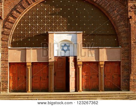 Jewish funeral home. Lodz, Poland - January 03, 2016
