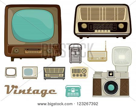 Televisions radios and a camera in retro style