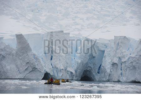 Iceberg off coast of Antarctica travel on Zodiak