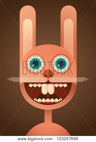 Comic rabbit. Vector illustration.