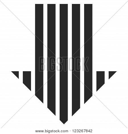 Stripe Arrow Down vector icon. Stripe Arrow Down icon symbol. Stripe Arrow Down icon image. Stripe Arrow Down icon picture. Stripe Arrow Down pictogram. Flat gray stripe arrow down icon.