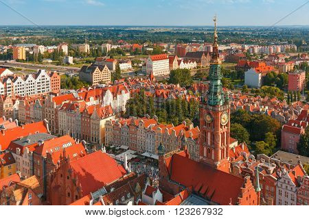 Aerial view of City Hall on the Long Market Street in Main City of Gdansk in the summer morning, Gdansk, Poland