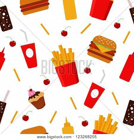 Fast Food. Food Background. Unhealthy Food. Sweets Fries Burger Soda. Health Care. Seamless Pattern. Bistro Food. Vector background